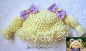4783964e0e9 Cabbage Patch Kid Crochet Hat Wig Blonde Pigtails Infant Toddler ...