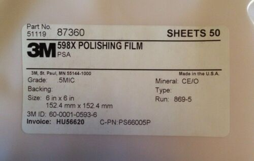 3M POLISHING FILM 598X 6X6 .5MIC CERIUM OXIDE ADHESIVE BACKED 50 SHEETS PER PACK