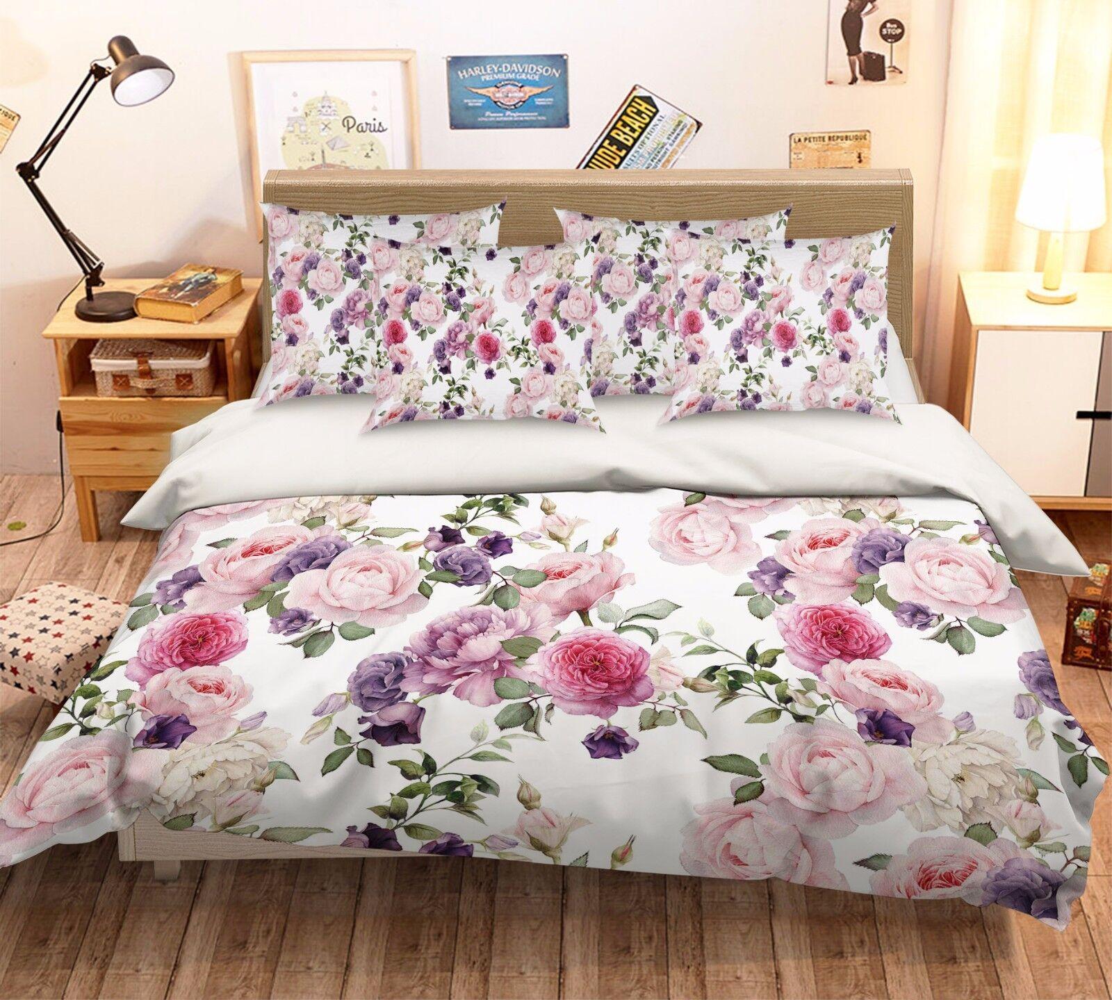 3D Elegant Flowers 522 Bed Pillowcases Quilt Duvet Cover Set Single Queen CA