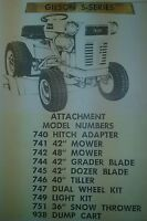 Gilson S- 12 Ward Garden Tractor Attachments Owners & Parts Manual Squire 34pg