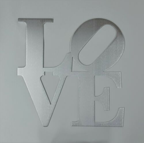 """12/"""" Machine Brushed Aluminum Metal Love Sign Wall Decor Philly Love Park Sign"""