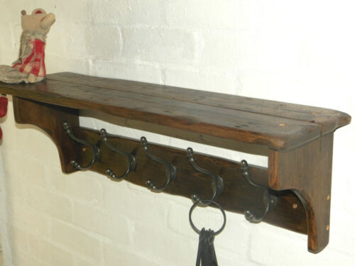 Handmade Reclaimed look wood Cottage//Vintage style Hat/&Coat Rack with shelf