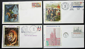 Silk-Cachet-US-Postage-Set-of-4-Covers-Letters-Envelopes-FDC-USA-Letters-H-8344