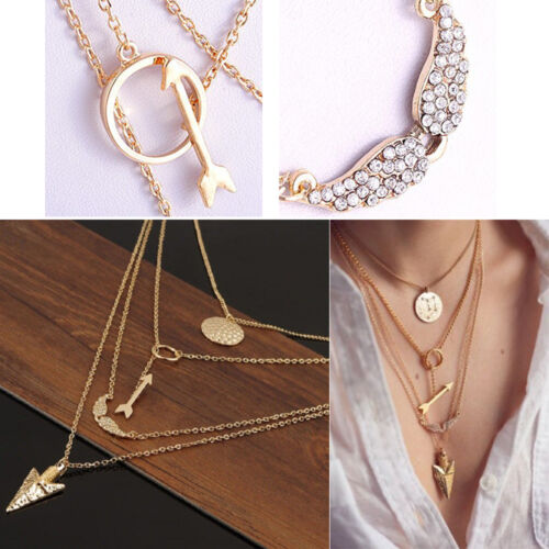 1Pc Attractive lariat Necklace Gold Multi-Layer Sophisticated Arrow Wing Pendant
