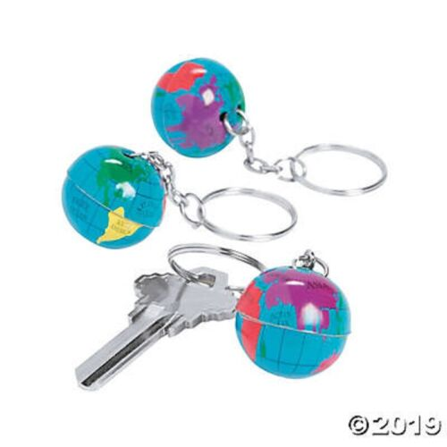 24 Globe World Key Chains Rings Birthday Party Favors Kids Treats Gifts