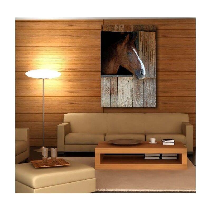 Gemälde Stoff Deko Pferd Box in Holz 7235269