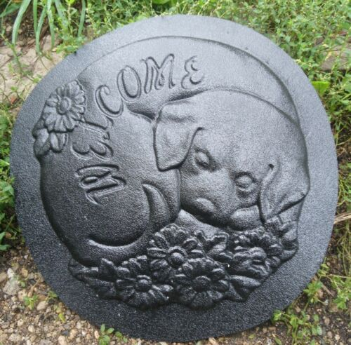 """Dog welcome plaque mold plaster cement resin casting mould 10/"""" x 1//3/"""" thick"""