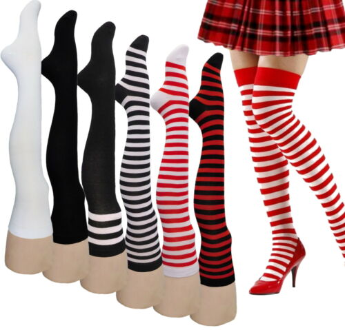 ONE PAIR 26 Inches RED STRIPES  Over Knee Long Anime Thigh High Socks Stockings
