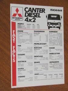 Details about 1986 Mitsubishi Canter Diesel 4x2 original Australian  Specification sheet