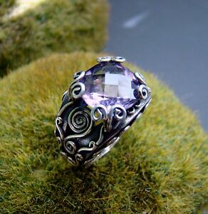 Sterling-Silver-925-Ring-Handcrafted-Amethyst-Cushion-Checkerboard-Size-6-0
