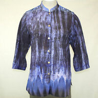 Citron Clothing Plus Size Blue Ink Design Print Button Down Blouse 3x