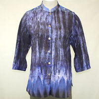 Citron Clothing Plus Size Blue Ink Design Print Button Down Blouse 3x