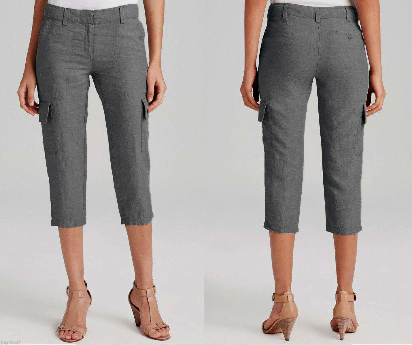 168 Eileen Fisher Organic Linen Dapple Dark Grey Cropped Cargo Pants 4
