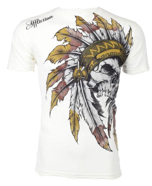 AFFLICTION Mens T-Shirt WINDTALKER Indian Skull WHITE Tattoo Biker UFC Jeans $50