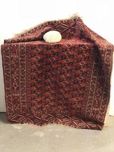 140x125cm-Tapis-Boukhara-Turkmene-Ancien-Fait-Main-Antique-Carpet-Arabic