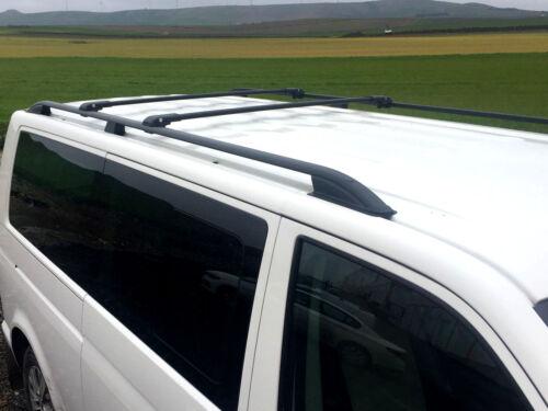 VW T5 T6 on2003 TRANSPORTER LOCKABLE ROOF RAIL BARS RACK CROSS BARS BLACK LWB