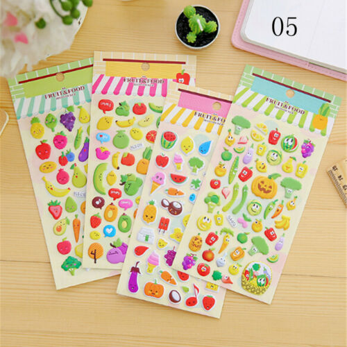 2sheets 3D Puffy Bubble Sticker Toys Children Car Animal Fruit Letter Stickers;*
