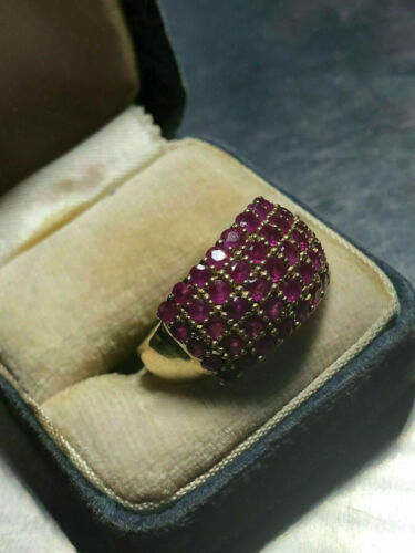 Vintage 2.00 CT Round Cut Red Ruby Engagement Wedding Ring 14k Yellow Gold Over