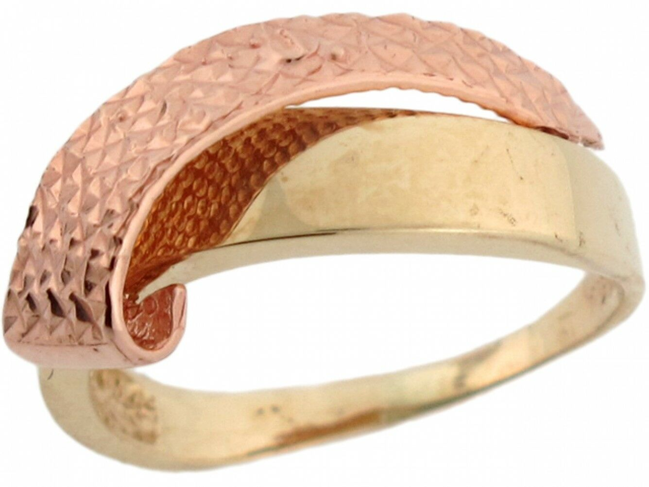 10k or 14k 2 Tone Yellow & Pink Real gold Very Unique Beautiful Ring