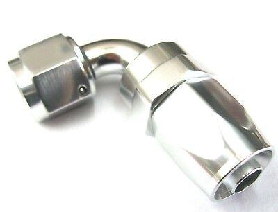 10 AN 90 Deg Swivel Hose End SimChrome show polished silver anodized aluminum