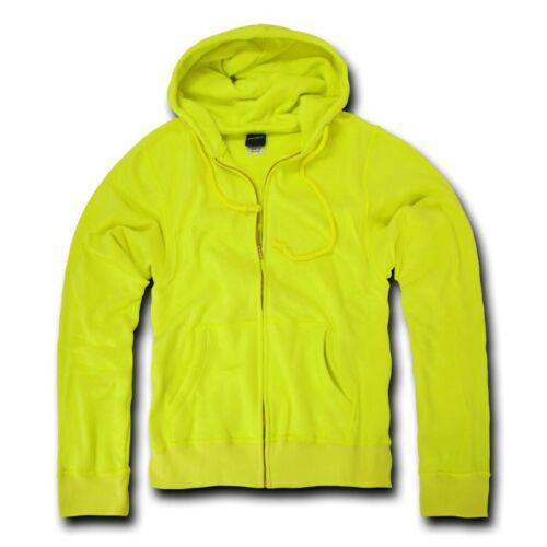 Decky Neon Yellow Full Zip Up Hoodie Hooded Sweatshirt S M L XL 2XL Unisex