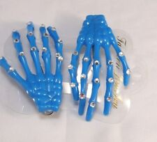 Skeleton Hand Hair Clip Pair Blue Halloween Costume Spooky Creepy sparkle