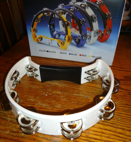 "WHITE 10/"" DOUBLE TAMBORINE TAMBOURINE RHYTHM BAND STAGE CHURCH RECORDING MUSIC"