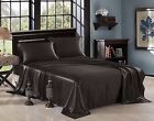 Satin Silky Soft and Luxury Bedding Sheet & Pillowcase Sets, Black, Three Size