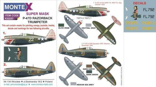 decals /& markings for P-47D Razorback for Trumpeter K32257 Montex 1//32 masks