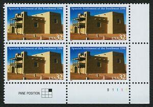 #3220 32c Español Settlement Of Sw, Placa Bloque [B1111 LR ] Cualquier 5=