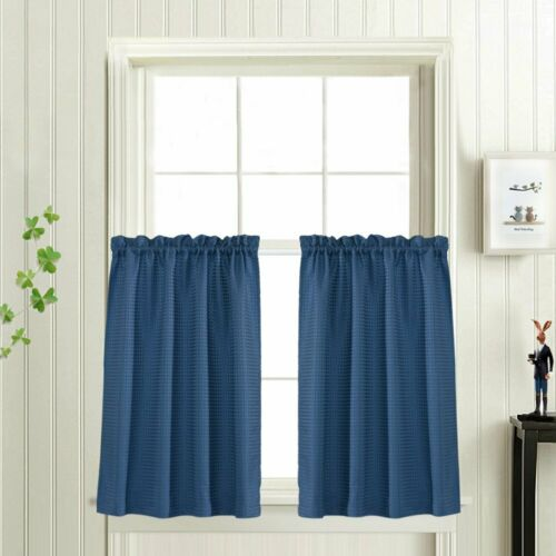 Waffle Woven Cafe Curtains Waterproof Kitchen Window Curtain Sets 2 Planes