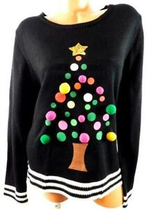 Holiday-time-black-sequins-fur-balls-tree-women-039-s-ugly-christmas-sweater-XXL