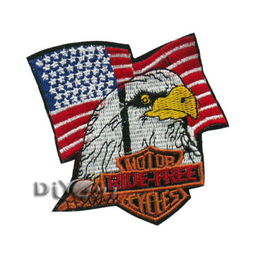 Motocycles Ride Free US flag Eagle Biker Iron On Sew on Badge Applique Patch