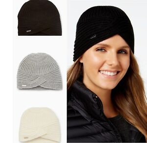 CALVIN KLEIN Women s Solid Ribbed Turban Beanie NEW Hat BLACK ... c4714ae5976