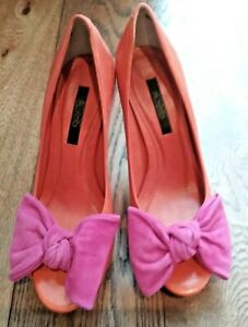 Orange leather shoe velour cerise pink bow ASOS worn once 4and half inch heel