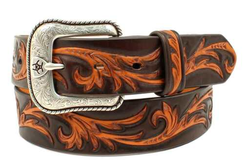 Ariat Western Mens Belt Leather Embossed Tan A1030667