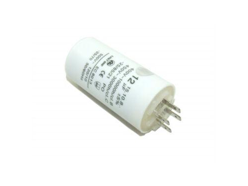 COMMERCIAL MACHINE PLASTIC ROUND RUN CAPACITOR 12µF 12UF 400-500V 4 TERMINALS