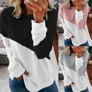 Womens-Long-Sleeve-Pullover-T-Shirt-Loose-Blouse-Jumper-Tops-Casual-Sweatshirt