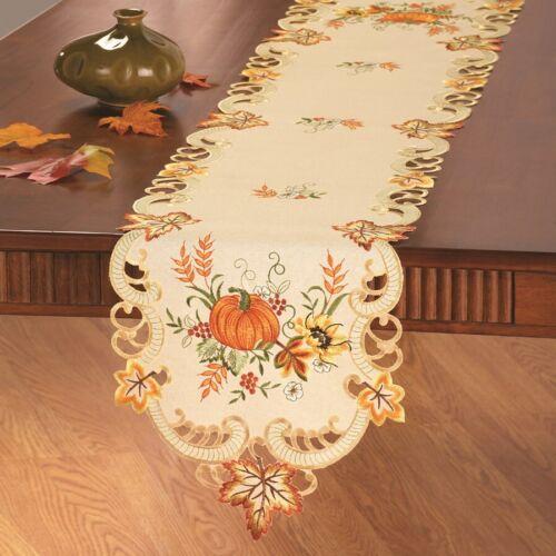 """Thanksgiving Fall Decor Table Runner Pumpkin Sunflower 66/""""x 13/"""" Embroidered"""