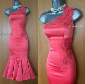 Karen-Millen-UK-8-Coral-Seda-Bordado-Un-Hombro-Vestido-Lapiz-Coctel-Glam
