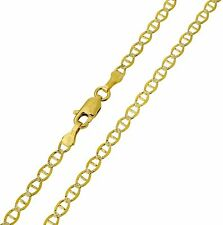 "14K Solid Yellow Two-Tone Gold Diamond Cut Mariner Chain Necklace 3mm 24"" (1/8"")"