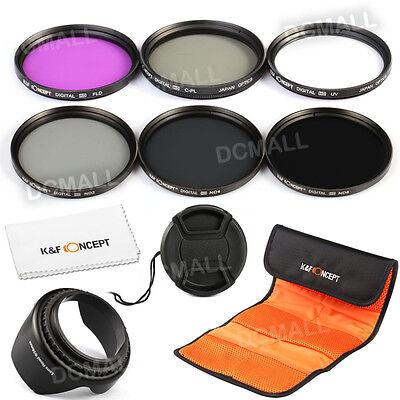 Pro 58mm Filter UV CPL FLD ND2 4 8 Lens Hood Cap for Canon 100D 700D 1200D 18-55