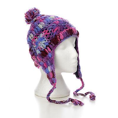 Hand Knitted Winter Woollen Crazy Flower Stitch Earflap Beanie Hat UNISEX CFEH9