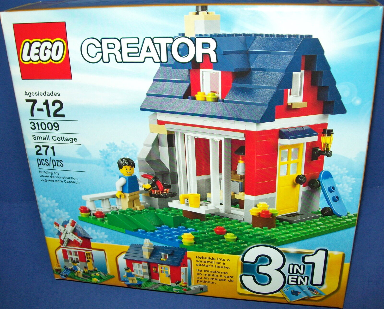 LEGO 31009 Creator 3 IN 1 SMALL COTTAGE 271pc builds windmill or skater's house