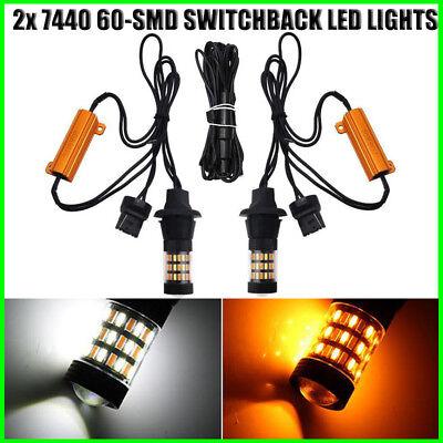 2 pcs 7443 60 SMD LED Switchback Dual colors 30pcs Amber 30pcs White LED Type 2