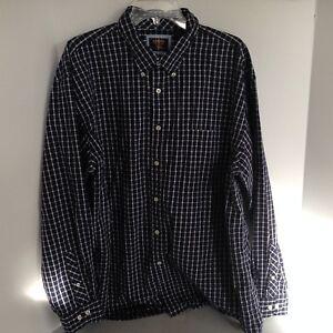 Arrow-Men-039-s-XL-Blue-Check-Long-Sleeve-Dress-Shirt