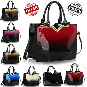 Ladies-Designer-Patent-Handbags-Women-039-s-Fashion-Tote-Bags-Two-Tone-Faux-Leather