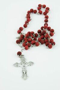 Red Beads Prayer Rope Catholic 50 Knots Big Metal Cross Четки 50 Молитв