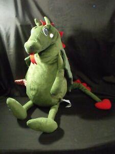 IKEA-Flygdrake-Green-Dragon-Stuffed-Plush-Animal-Red-Heart-Tail-Pillow-Decor