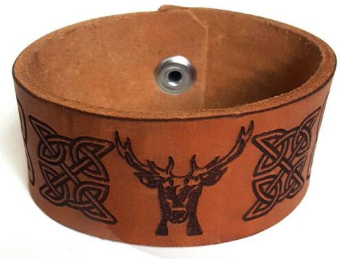 Details about  /Celtic Stag Leather Cuff Bracelet Deer Bracelet